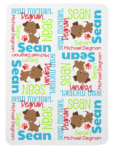 Personalized Puppy Baby Blanket for Boys