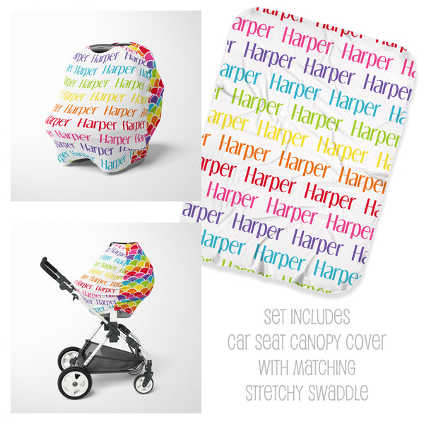 Rainbow Car Seat Cover & Swaddle Set