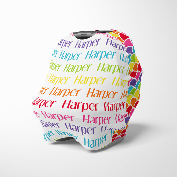 Personalized rainbow baby car seat cover canopy