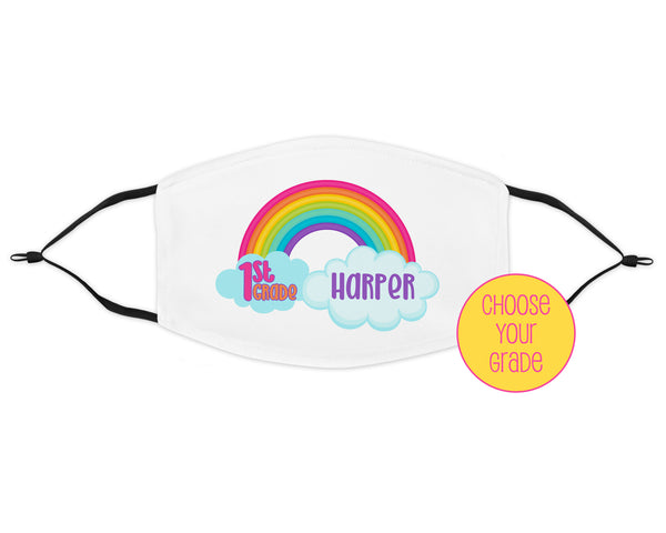 back to school rainbow kids personalized face mask