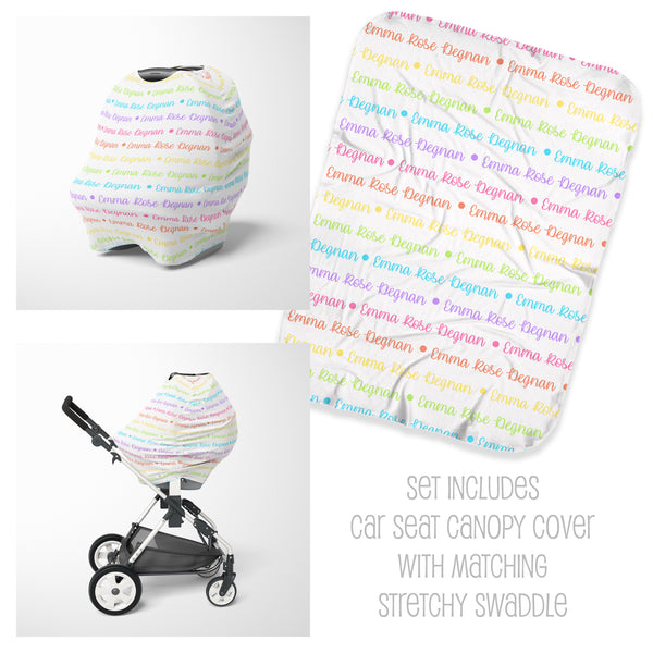 Pastel Rainbow Car Seat Cover & Swaddle Set