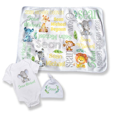 Boy's Personalized Safari Baby Blanket