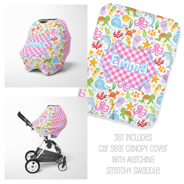 Sea Animal Car Seat Cover & Swaddle Set