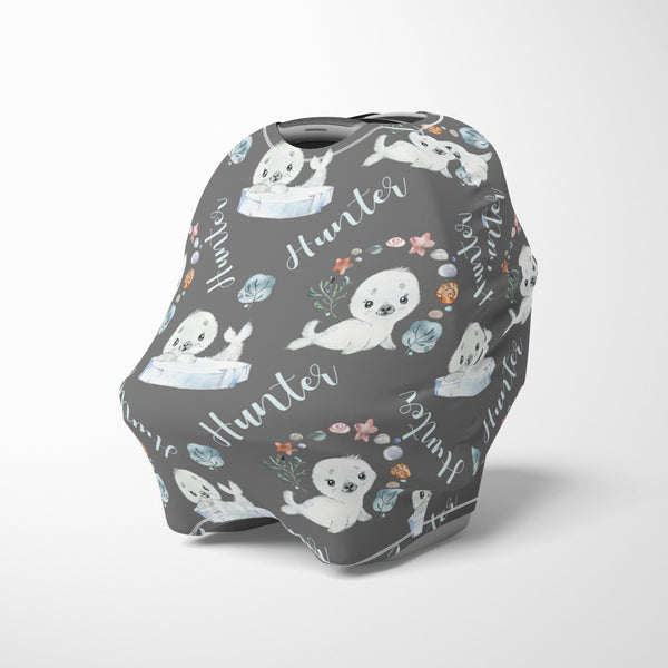 Personalized baby seal car seat canopy cover