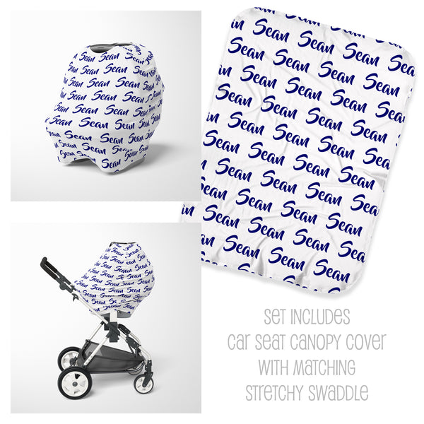 Name Car Seat Cover & Swaddle Set for Boys