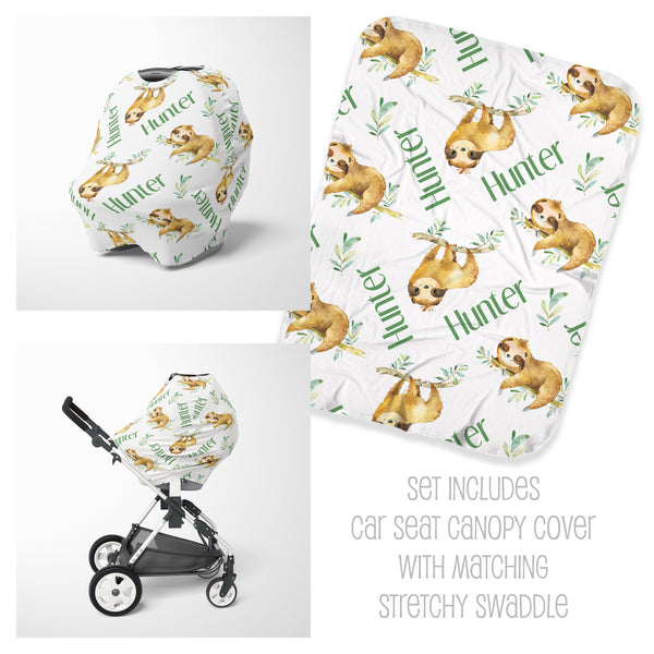 Sloth Car Seat Cover & Swaddle Set for Boys