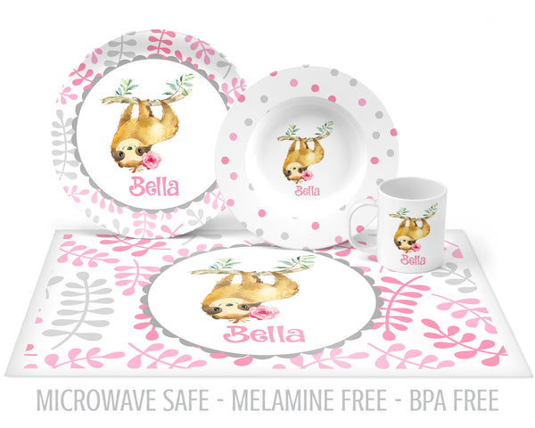 personalized sloth plate for girls