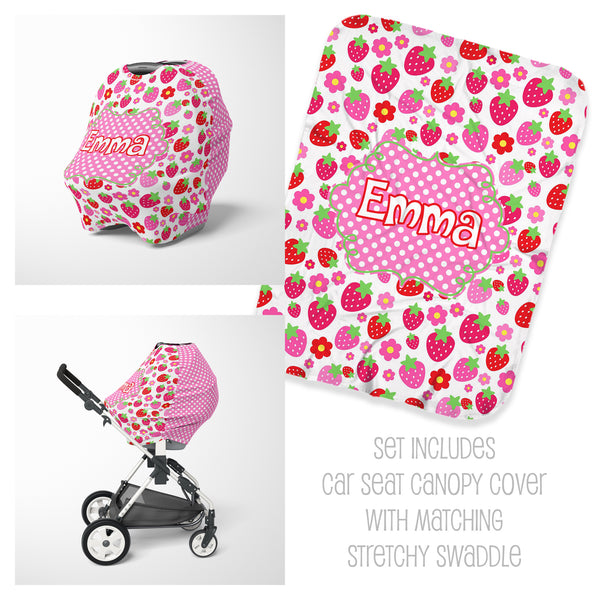Strawberry Car Seat Cover & Swaddle Set