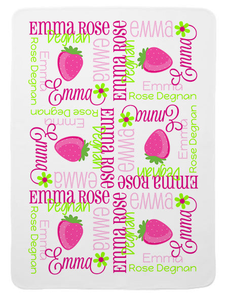 Personalized Strawberry Baby Blanket for Girls