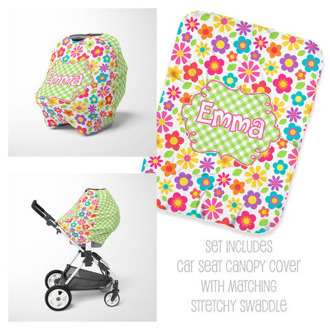 Personalized bright floral car seat cover canopy and swaddle