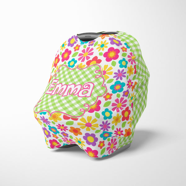 Personalized bright flower car seat cover canopy