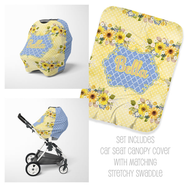 Sunflower Car Seat Cover & Swaddle Set