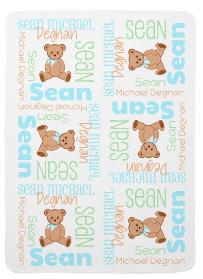 Personalized Teddy Bear Baby Blanket for Boys