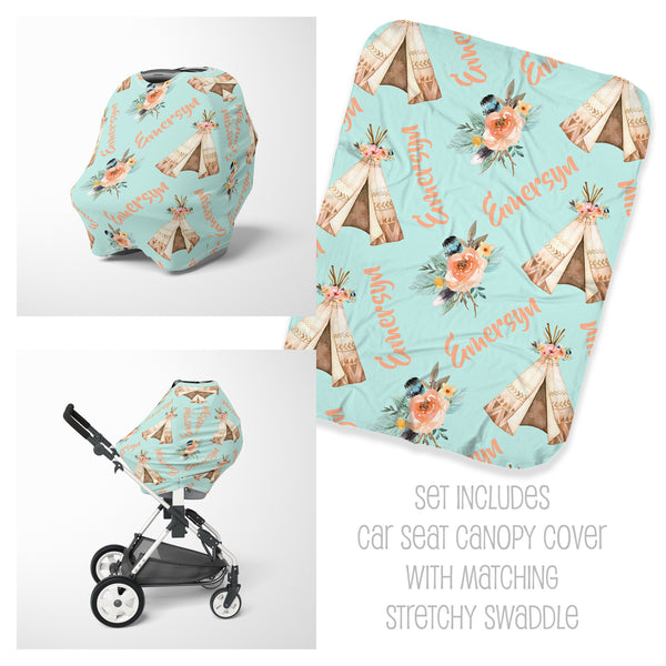 TeePee Car Seat Cover & Swaddle Set