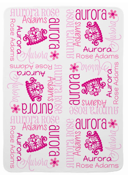 Personalized Tiara Baby Blanket for Girls