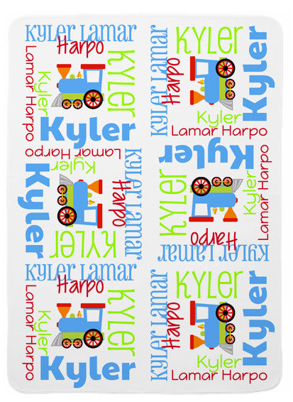 Personalized Train Baby Blanket for Boys