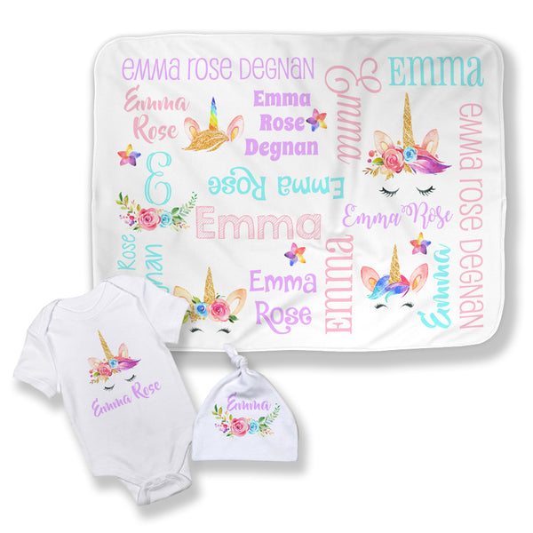 Personalized Unicorn Face Baby Blanket