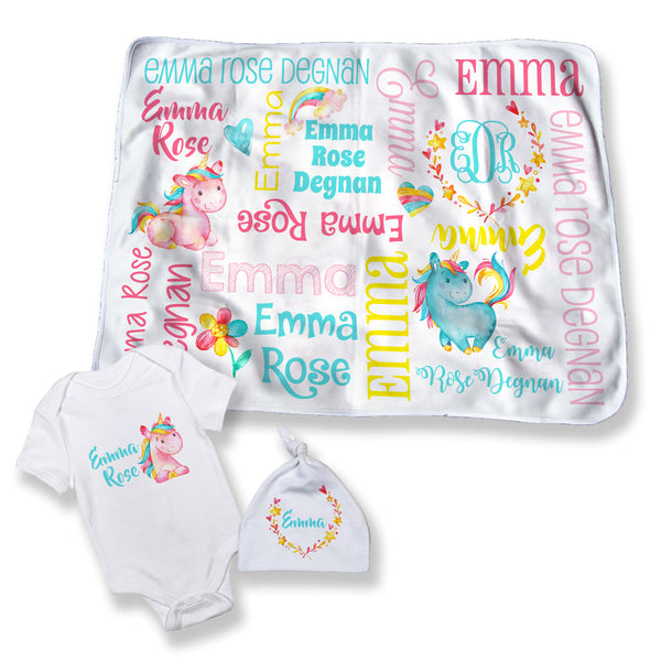 Personalized Unicorn Blanket for Girls
