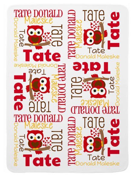 Personalized Valentine Owl Baby Blanket for Boys