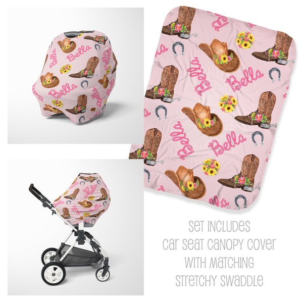 Western Car Seat Cover & Swaddle Set for Girls