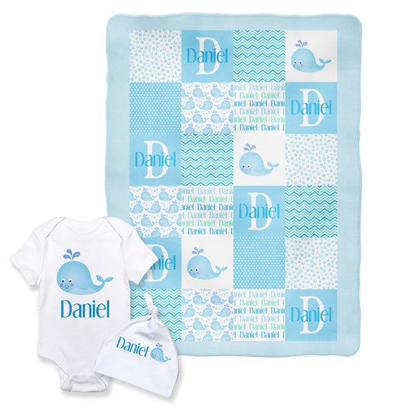 Patchwork Style Boy Whale Baby Blanket