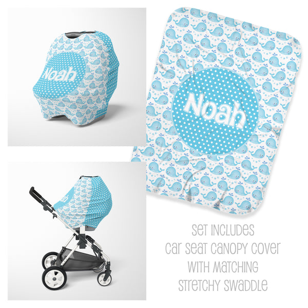Whale Car Seat Cover & Swaddle Set