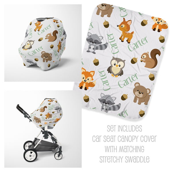 Woodland Car Seat Cover & Swaddle Set