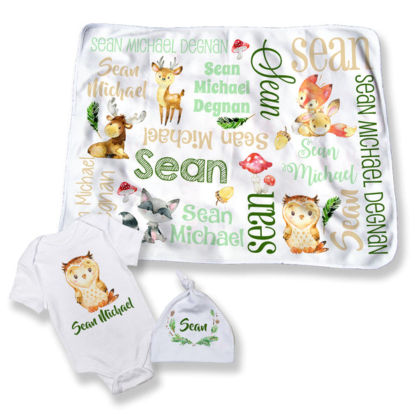 Personalized Woodland Animal Blanket