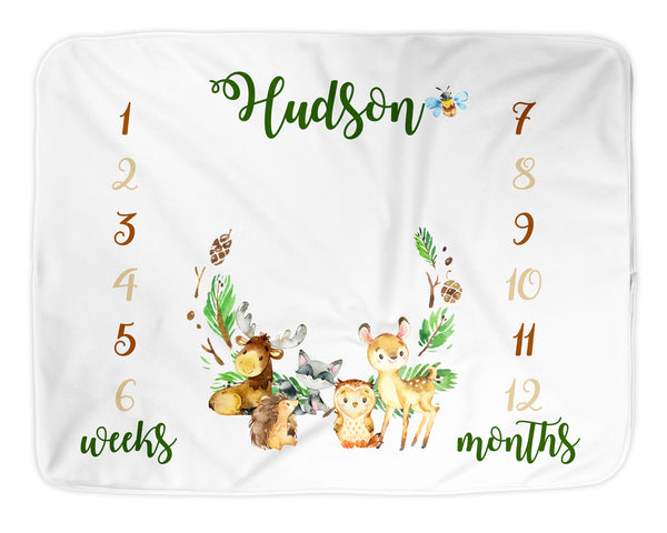 Personalized Woodland Milestone Blanket