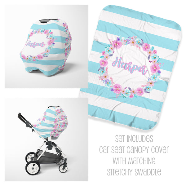 Floral Striped Car Seat Cover & Swaddle Set