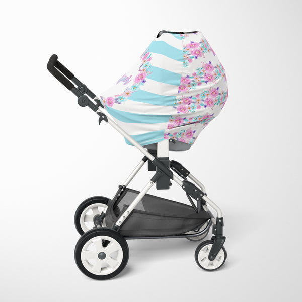 Floral Striped Car Seat Cover