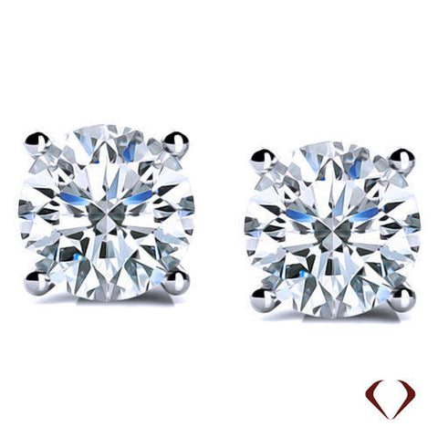 AGI 1.40CT D SI2 Round Cut Diamond Stud Earrings 14K White Gold -IDJ008218
