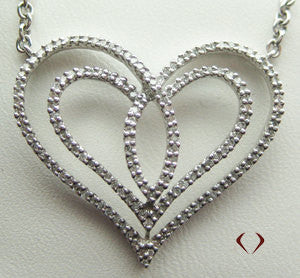 Round Cut Diamond Heart Shaped Pendant in 18K White Gold -IDJ008321