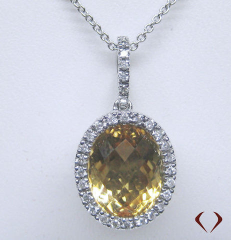 Round Cut Diamond And Citrine Pendant With 14K White Gold Chain -IDJ008487
