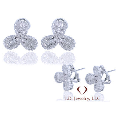 2.58CTW Round and Baguette Cut Diamond Fashion Earrings In 18K White Gold -IDJ008512