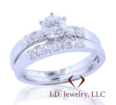 0.90CTW Diamond Bridal Set In 14KT White Gold -IDJ008726