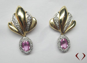 Yellow Gold Fancy Earring With Removable Oval Pink Sapphire In White Gold-IDJ008770