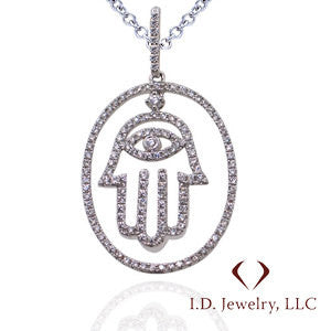 Diamond Pendant in 18Kt White Gold With Chain -008784