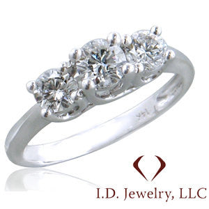 Round Cut 3 Stone Diamond Engagement Ring in 0.55CTW -IDJ008821