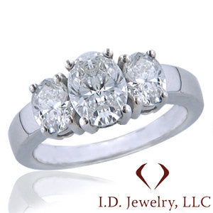 3 Stone Oval Cut Diamond Engagement Ring -IDJ008822