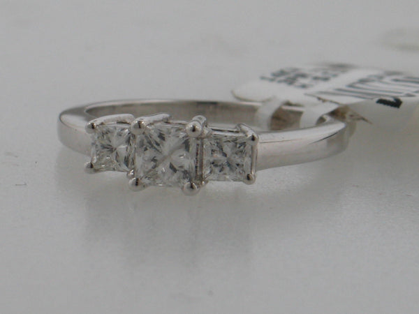 1.00CTW Princess Cut Three-Stone Diamond Engagement Ring In 14KT White Gold -IDJ008833