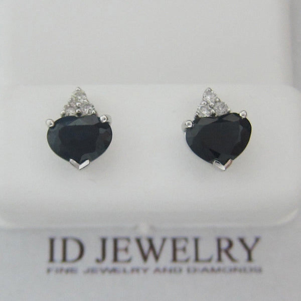 2.68CTW Heart-shape Sapphire and Round Diamond Earrings In 14KT White Gold -IDJ009021