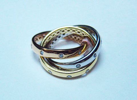 18KT White Rose And Yellow Gold Diamond Band -IDJ009034