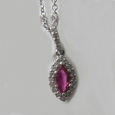 0.40CTW Ruby and Diamond Pendant In 14KT White Gold -IDJ009110