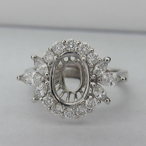0.77CTW Round and Marquise Cut Diamond Halo Engagement Ring Setting In 18KT White Gold - IDJ009159