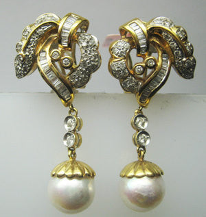 Diamond And Pearl Hanging Earrings In 18K Yellow Gold -IDJ009334