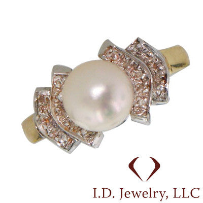 Pearl and Diamond Fashion Ring In 14KT Yellow Gold -IDJ009364