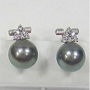 0.21CTW Black Pearl and Diamond Cluster Earrings In 18K White Gold - IDJ009450