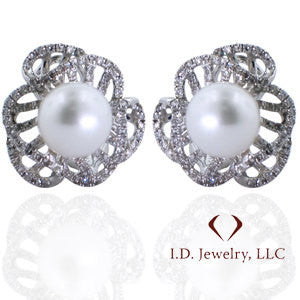 Pearl And Diamond Earrings 14K White Gold -IDJ009595
