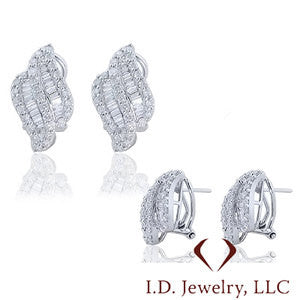 Round And Baguette Cut Diamond Earrings in 14K White Gold -IDJ009600